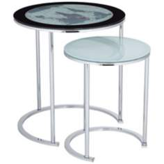 Set of 2 World Map Metal and Glass Nesting Tables