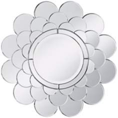 "Clear Petal Sunburst Round 28 1/2"" Wide Wall Mirror"