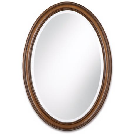 "Oval Wood Finish 34"" High Wall Mirror"