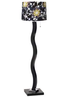 Black and Olive Wave Stick Floor Lamp