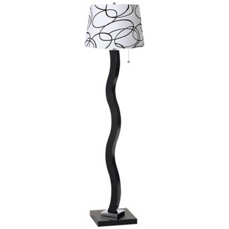 Black and White Squiggle Wave Stick Floor Lamp