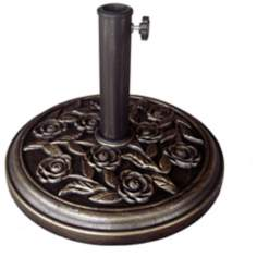 Rose Designed Bronze Outdoor Umbrella Stand