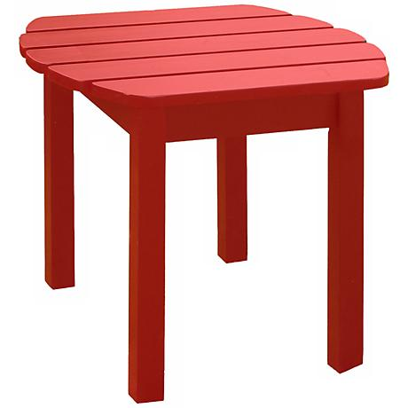 Red Finish Solid Wood Accent Table