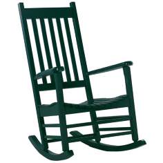 Solid Wood Hunter Green Porch Rocker Chair