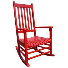 Red Finish Solid Wood Porch Rocker