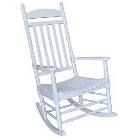 White Finish Solid Wood Rocker Chair
