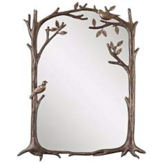 "Uttermost Perching Birds Small 39 1/4"" High Wall Mirror"