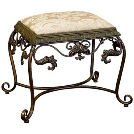 Iron Scroll Vanity Seat with Damask Fabric Cushion
