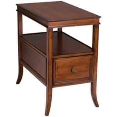 Americana Cherry Finish Narrow Chairside Table