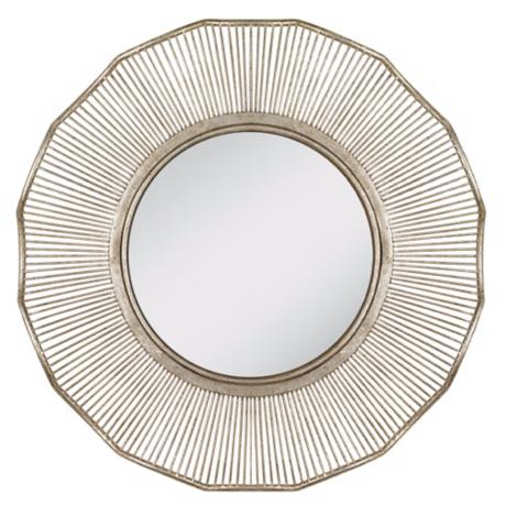 "Sunrays 32"" Wide Antique Silver Wall Mirror"