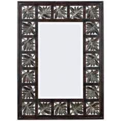 "Walnut Leaves 32"" High Wall Mirror"