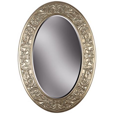 "Champagne Silver Oval 40"" High Wall Mirror"