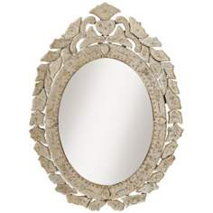 "Kichler Petite Oval Antique Beveled Frame 28"" Wall Mirror"