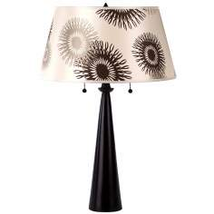 Lights Up! Tan Cornflower Nikki Antique Bronze Table Lamp