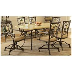Hillsdale Brookside Rectangle Scrolling 7 Piece Dining Set