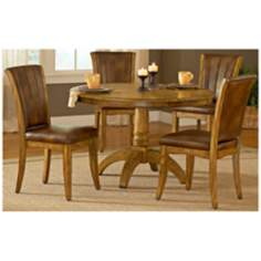 Hillsdale Grand Bay Oak Finish Round 5 Piece Dining Set