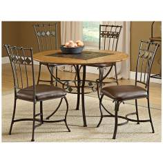 Hillsdale Lakeview Round Slate 5 Piece Dining Set