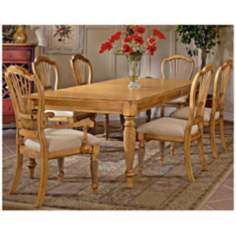 Hillsdale Wilshire Rectangle Pine Finish 7 Piece Dining Set