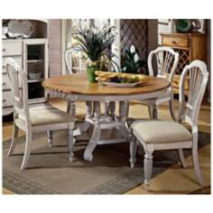 Hillsdale Wilshire Antique White Round 5 Piece Dining Set