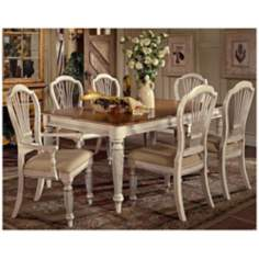 Hillsdale Wilshire White Finish Rectangle 7 Piece Dining Set