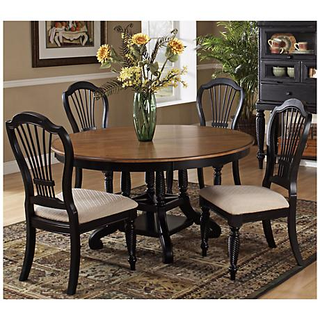 Hillsdale Wilshire Black Finish Round 5 Piece Dining Set