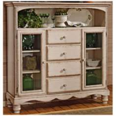 Hillsdale Wilshire Antique White 4 Drawer Bakers Cabinet