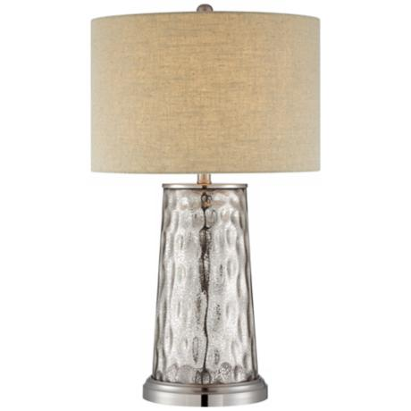 Mercury Glass Tapered Cylinder Table Lamp