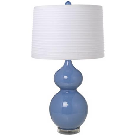 White Pleated Shade Double Gourd Slate Blue Ceramic Table Lamp