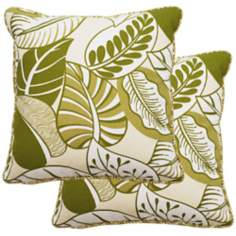 "Set of 2 Green Nicole 25"" Square Outdoor Pillows"