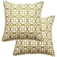 "Set of 2 Betsy 25"" Square Flanged Edge Outdoor Pillows"