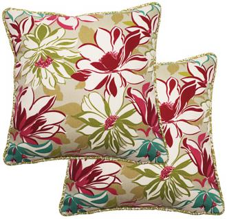 "set of 2 sarah 25"" square welt cording outdoor pillows (t5951)"