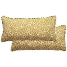 Set of 2 Floral Rectangular Welt Cording Outdoor Pillows