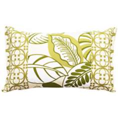Leafy Rectangular Patched Outdoor Pillow