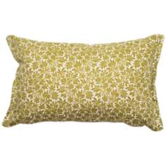 Green Floral Rectangular Flanged Outdoor Pillow
