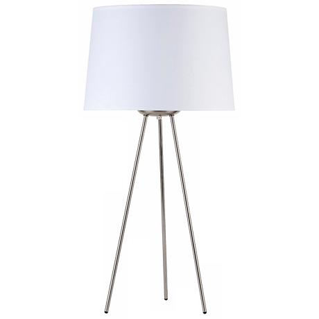 "Lights Up! Weegee White Linen 27"" High Table Lamp"