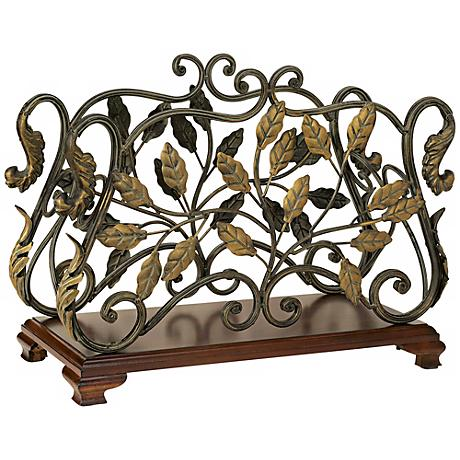Iron Leaf Scrolled Rosewood Base Magazine Rack