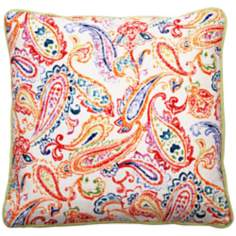 "Bali Bright Paisley 18"" Square Linen Throw Pillow"