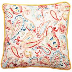 "Bali Antique Paisley 22"" Square Linen Throw Pillow"