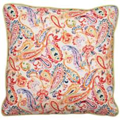 "Bali Multicolor Bright Paisley 22"" Square Linen Throw Pillow"