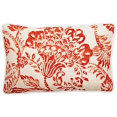 "Bali Antique Red 17"" Wide Linen Throw Pillow"