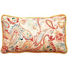 "Bali Antique Paisley 17"" Wide Linen Throw Pillow"