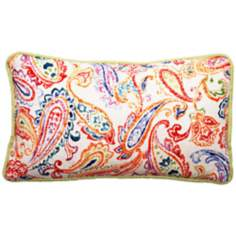 "Bali Multicolor Paisley 17"" Wide Linen Throw Pillow"
