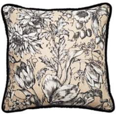 "Vintage Garden Black and Natural 18"" Square Throw Pillow"