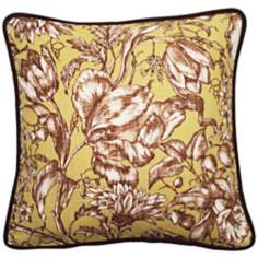 "Vintage Garden Black and Green 18"" Square Throw Pillow"