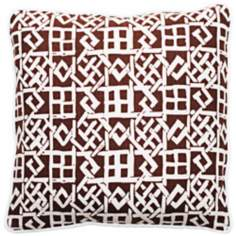 "Modern Lattice Brown and White 18"" Square Throw Pillow"