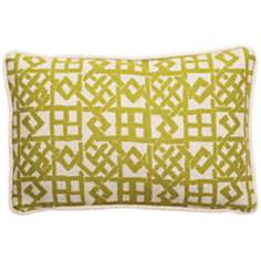 "Modern Lattice Green and Natural 17"" Wide Lumbar Pillow"