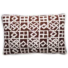 "Modern Lattice Brown and White 17"" Wide Lumbar Pillow"