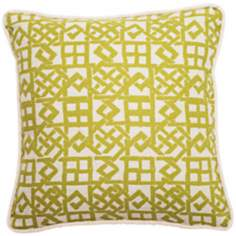 "Modern Lattice Green and Natural 18"" Square Throw Pillow"