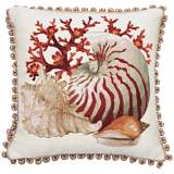 "Conch Ball Fringe 19"" Square Throw Pillow"