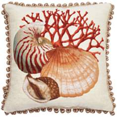 "Clam Ball Fringe 19"" Square Throw Pillow"